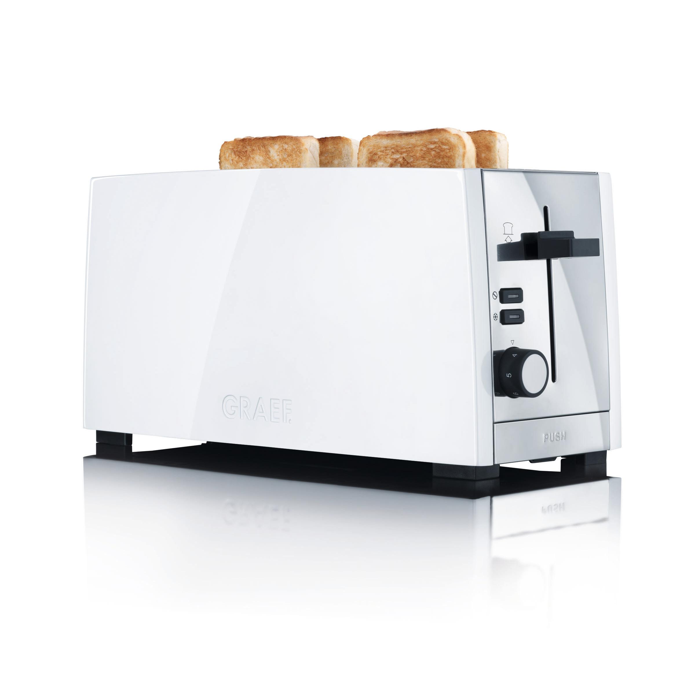 Doppel-Langschlitztoaster Weiß Toaster Brötchen 4 Scheiben