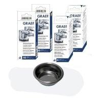 Reinigungsset für Espressomaschinen Blindsieb, Entkalkungstabletten, Reinigungstabletten